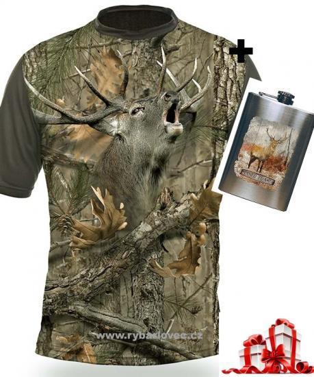 Myslivecké tričko Hillman Jelen 3D + Placatka