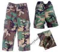 Kalhoty dětské woodland s odep.nohavicemi vel.XL