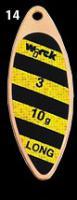 třpytka wirek 4g-long1-zlatá-černo-žluté pruhy