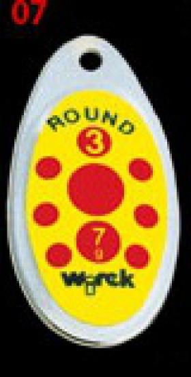 třpytka wirek 7g-round3-stříbrná-žlutá,červené teč