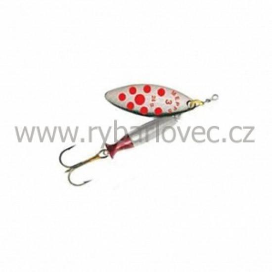 Mepps aglia longheavy-stříbrná-červ.tečky 2/16g