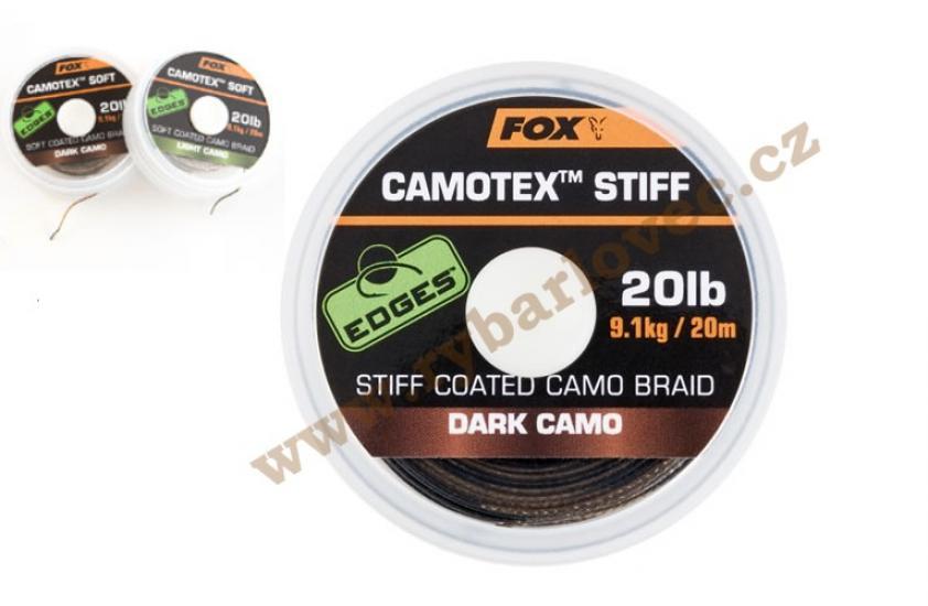 Fox šňůra EDGES Camotex Stiff Dark 20lb/20m